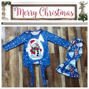 Christmas winter cute snowman pants set outfit
